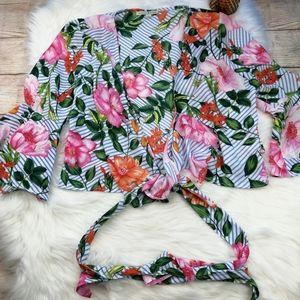 Haute Monde Floral Bell Sleeve Self Tie Wrap Sz L